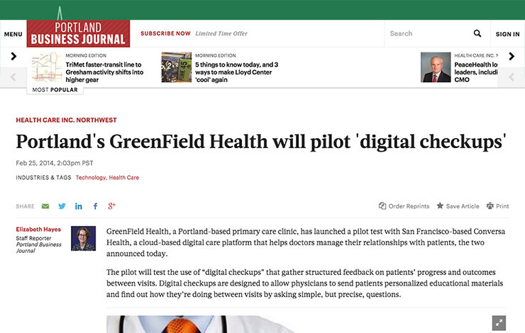 Portland's GreenField Health will pilot 'digital checkups'