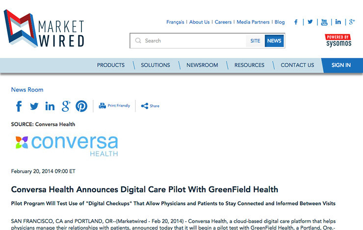 Conversa Health Announces Digital Care Pilot With GreenField Health