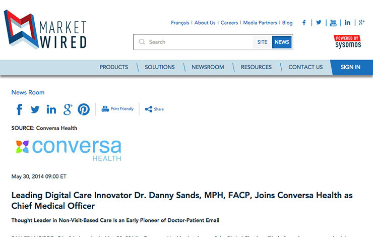 Leading Digital Care Innovator Dr. Danny Sands, MPH, FACP, Joins Conversa Health as Chief Medical Officer