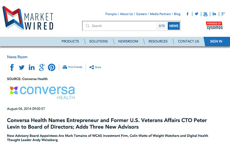 Conversa Health Names Entrepreneur and Former U.S. Veterans Affairs CTO Peter Levin to Board of Directors; Adds Three New Advisors
