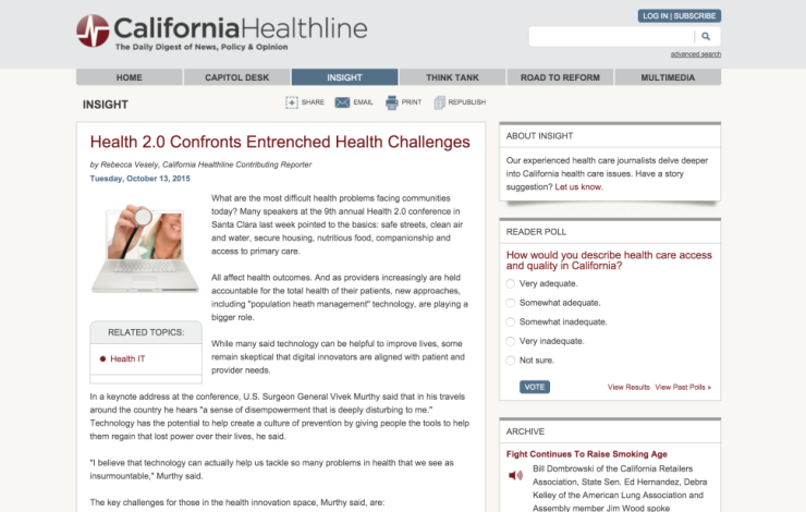 Health 2.0 Confronts Entrenched Health Challenges