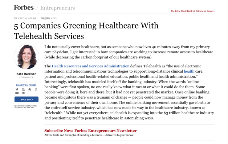 5 Companies Greening Healthcare With Telehealth Services