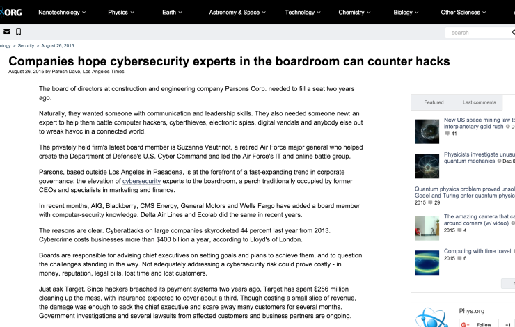Companies hope cybersecurity experts in the boardroom can counter hacks