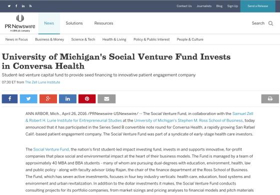 University of Michigan's Social Venture Fund Invests in Conversa Health