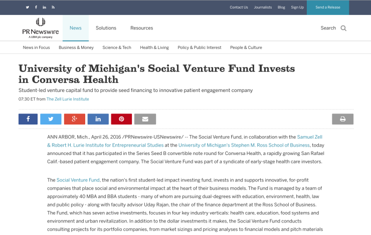 University of Michigan's Social Venture Fund Invests in Conversa Health