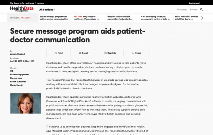 Secure message program aids patient-doctor communication