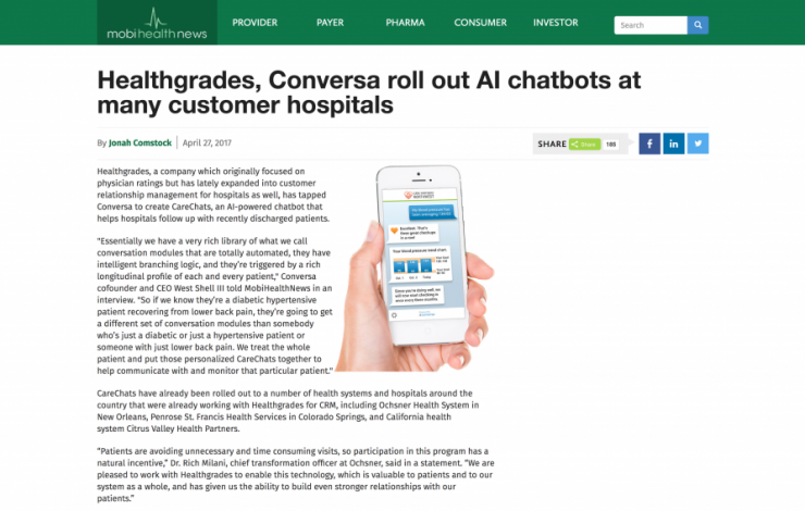 Healthgrades, Conversa roll out AI chatbots at many customer hospitals