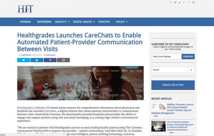 Healthgrades Launches CareChats to Enable Automated Patient-Provider Communication Between Visits