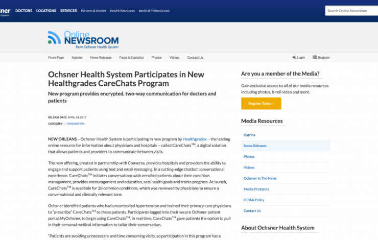 Ochsner Health System Participates in New Healthgrades CareChats Program