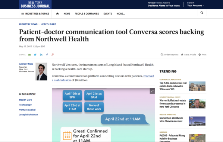 Patient-doctor communication tool Conversa scores backing from Northwell Health