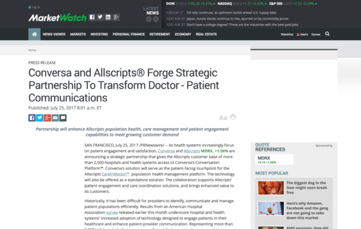 Conversa and Allscripts® Forge Strategic Partnership To Transform Doctor - Patient Communications