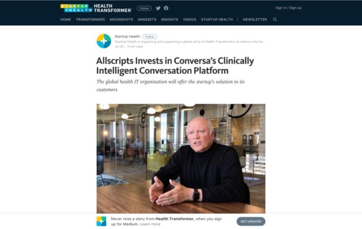 Allscripts Invests in Conversa's Clinically Intelligent Conversation Platform