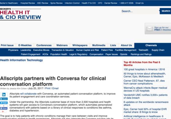 Allscripts partners with Conversa for clinical conversation platform