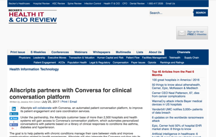 Allscripts partners with Conversa for clinical conversation platform