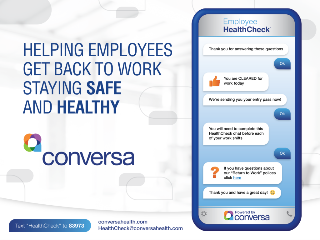 Conversa Health Launches COVID-19 Employee HealthCheck to Help America Get Back to Work Safely